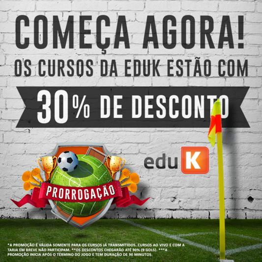 Promoção Bolão eduK. A cada gol do Brasil nos jogos da Copa um desconto para a compra dos cursos.